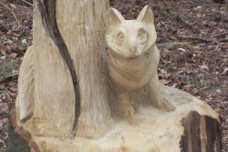 Animal sculptures hidden amongst the trees, located near the Rendlesham Forest Centre