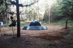 <b>Rendlesham Forest, Suffolk Photo:</b><br>The UFO has landed! Walk the 3 mile UFO trail and discover the new landing site sculpture!
